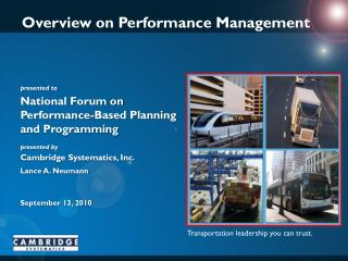 Overview on Performance Management