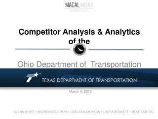 Competitor Analysis & Analytics of the   Ohio Department of  Transportation