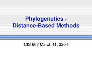 Phylogenetics - Distance-Based Methods