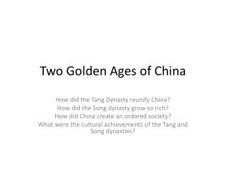 Two Golden Ages of China