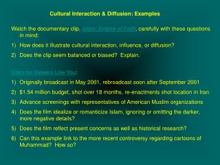Cultural Interaction & Diffusion: Examples