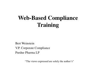 Web-Based Compliance Training