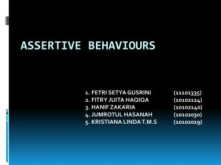 ASSERTIVE BEHAVIOURS