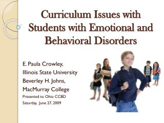 Curriculum Issues with Students with Emotional and Behavioral Disorders