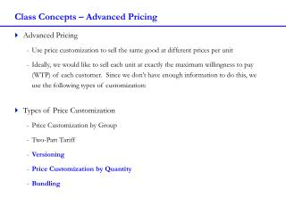 Class Concepts – Advanced Pricing