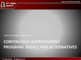 Continuous Improvement Program  Basics  and  Alternatives