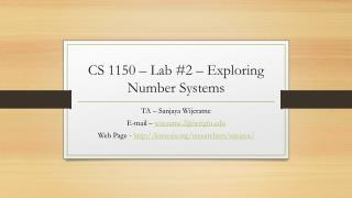 CS 1150  – Lab #2 – Exploring Number Systems