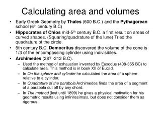Calculating area and volumes