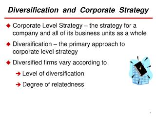 Diversification  and  Corporate  Strategy