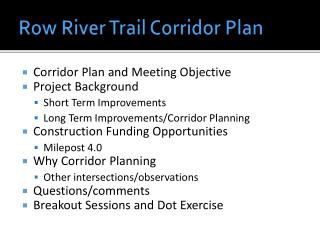 Row River Trail Corridor Plan