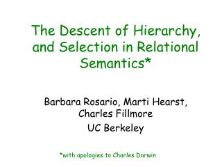 The Descent of Hierarchy, and Selection in Relational Semantics*