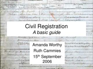 Civil Registration A basic guide