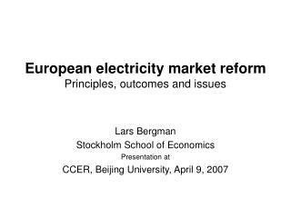 European electricity market reform Principles, outcomes and issues