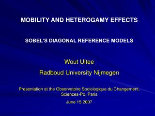 MOBILITY AND HETEROGAMY EFFECTS SOBEL'S DIAGONAL REFERENCE MODELS Wout Ultee