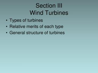 Section III Wind Turbines