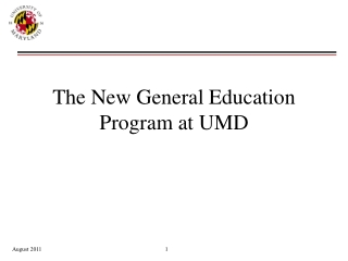 The New General Education Program at UMD