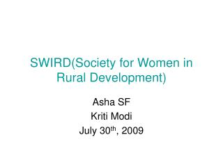 SWIRD(Society for Women in Rural Development)