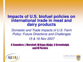 Impacts of U.S. biofuel policies on international trade in meat and dairy products