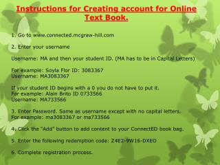 Instructions for Creating account for Online Text Book.