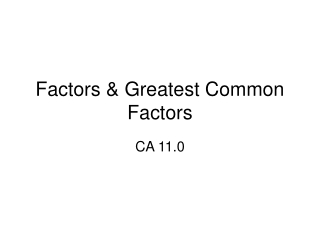 4-1 Factors and Monomials