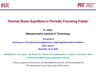 Thermal Beam Equilibria in Periodic Focusing Fields*