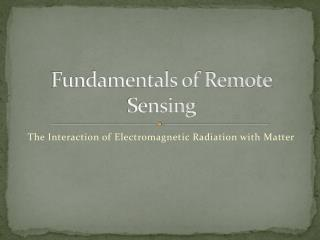 Fundamentals of Remote Sensing