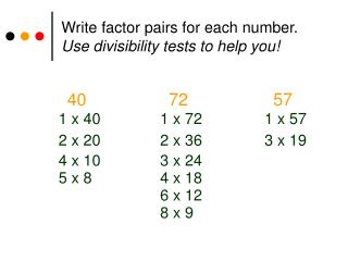 Write factor pairs for each number. Use divisibility tests to help you!