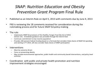 SNAP: Nutrition Education and Obesity Prevention Grant Program  Final Rule