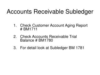 Accounts Receivable Subledger