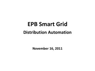 EPB Smart Grid Distribution Automation