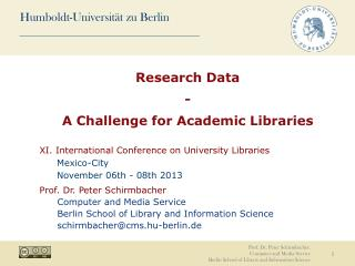 Research Data -  A Challenge for Academic Libraries