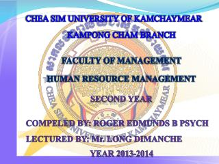 CHEA SIM UNIVERSITY OF KAMCHAYMEAR