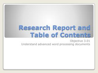 Research Report and Table of Contents