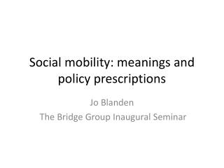 Social mobility: meanings and policy prescriptions