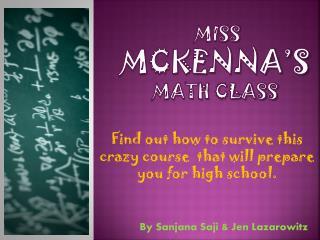 Miss  Mckenna's  Math Class