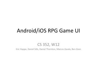 Android/ iOS  RPG Game UI