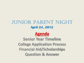 JunioR  Parent Night April 24, 2012