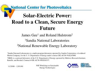 Solar-Electric Power: Road to a Clean, Secure Energy Future