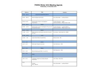FISWG  Winter 2012  Meeting  Agenda Wednesday, 12 December 2012