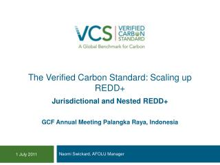 The Verified Carbon Standard: Scaling up REDD+