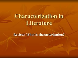 Characterization in Literature