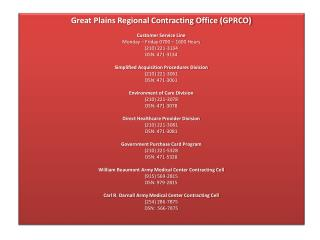 Great Plains Regional Contracting Office (GPRCO) Customer Service Line