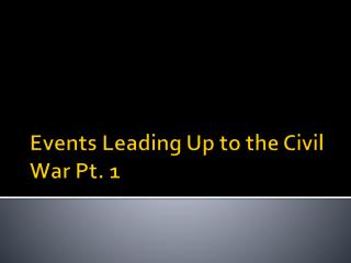 Events Leading Up to the Civil War Pt. 1