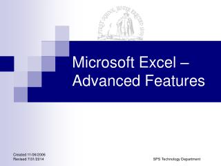 Microsoft Excel – Advanced Features