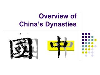 Overview of  China's Dynasties