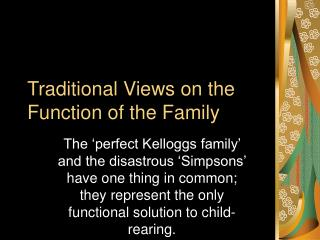 Traditional Views on the Function of the Family