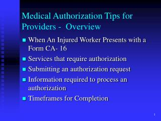 Medical Authorization Tips for Providers -  Overview