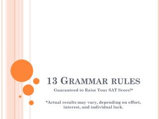 13 Grammar rules