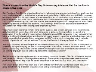 Zinnov makes it to the World's Top Outsourcing Advisors List