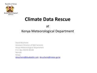 Climate Data Rescue at Kenya Meteorological Department